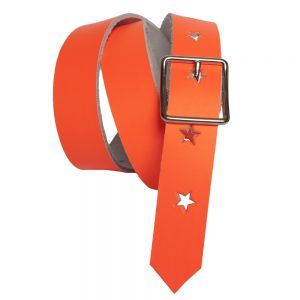 Neon Orange Kids Belt with Stars