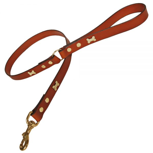Classic Leather Dog Lead - Tan with Brass Bones