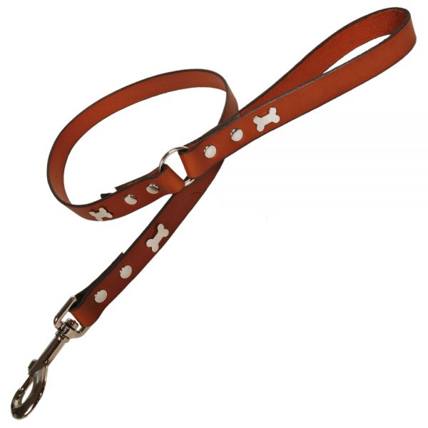 Classic Leather Dog Lead - Tan with Silver Bones