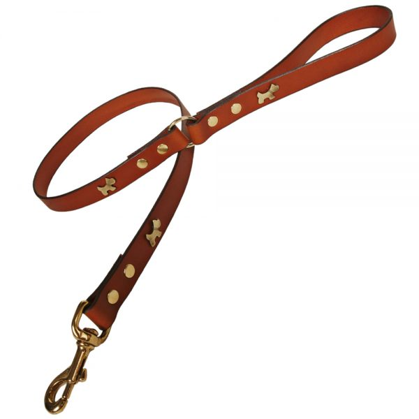 Classic Leather Dog Lead - Tan with Brass Dogs