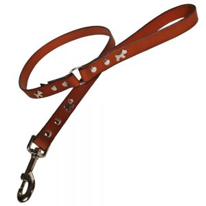 Classic Leather Dog Lead - Tan with Silver Dogs