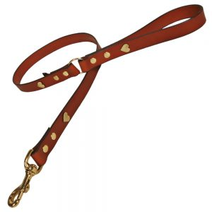 Classic Leather Dog Lead - Tan with Brass Hearts