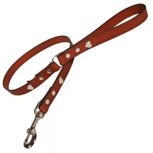 Classic Leather Dog Lead - Tan with Silver Hearts