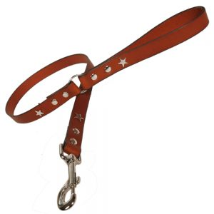 Classic Leather Dog Lead - Tan with Silver Stars