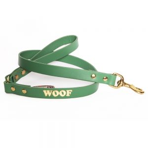 Leather Embossed WOOF Dog Lead - Jade with Gold