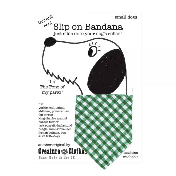 Slip on Dog Bandana in Green Gingham
