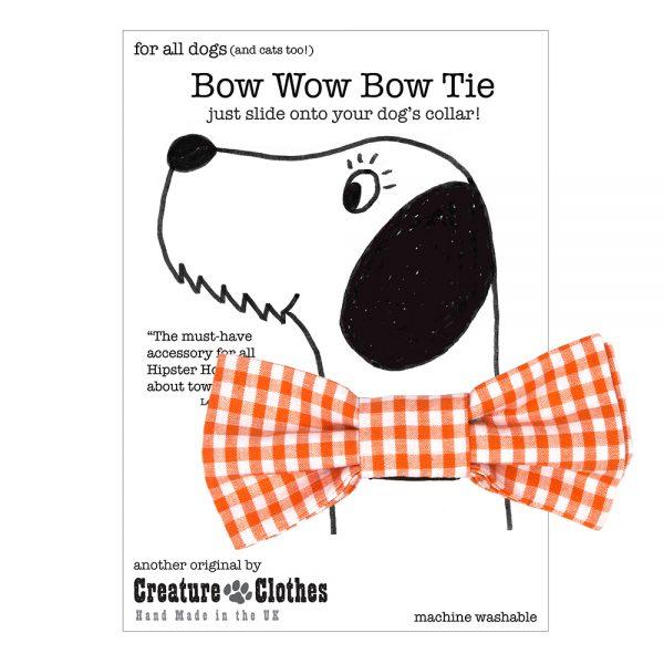 Orange Gingham Bow Tie