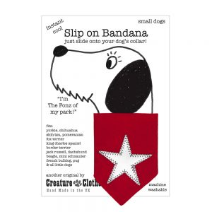 Slip-on-Bandana Christmas Star Silver/Red