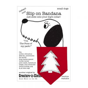 Slip-on-Dog Bandana Christmas Tree Silver on Red