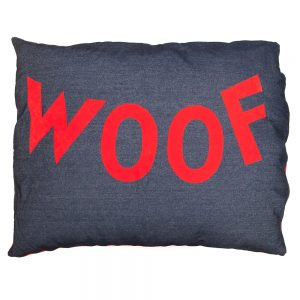 Dog Doza dog bed - WOOF - in red on denim