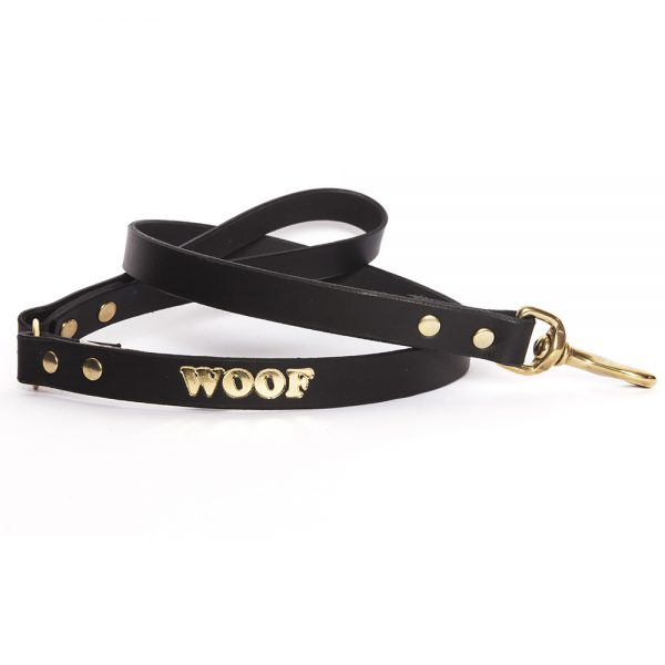 Leather Embossed WOOF Dog Lead - Black with Gold