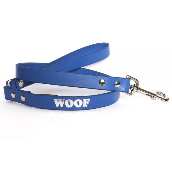 Leather Embossed WOOF Dog Lead - Electric Blue with Silver