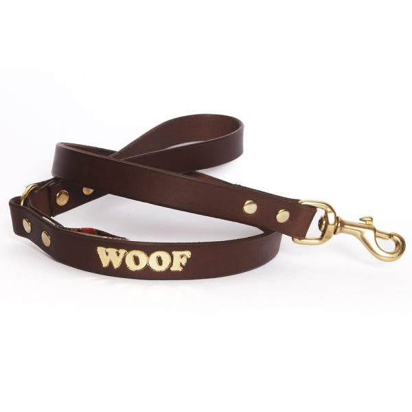Leather Embossed WOOF Dog Lead - Choc with Gold