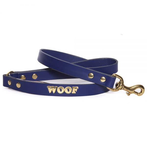Leather Embossed WOOF Dog Lead - Purple with Gold