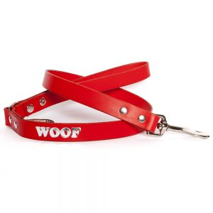 Leather Embossed WOOF Dog Lead - Red with Silver