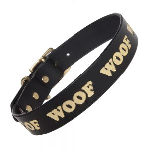 WOOF Collar - black/gold