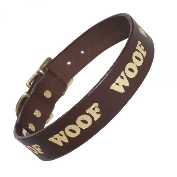 WOOF Collar - choc/gold