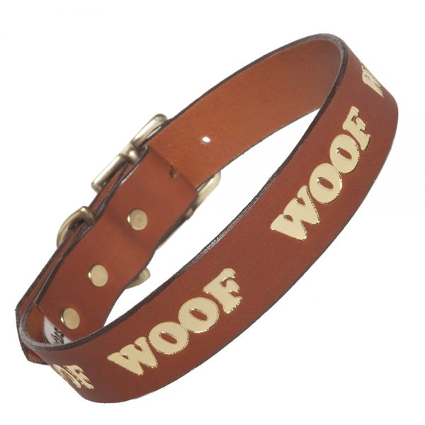 WOOF Collar - tan/gold