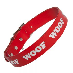 WOOF Collar - red/silver