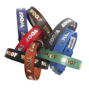 Woof Embossed Leather Collars & Leads
