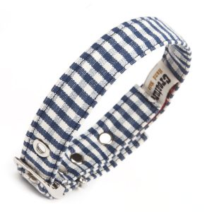 Vegan gingham fabric dog collar