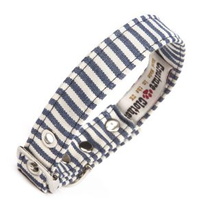 blue & white spripe vegan dog collar
