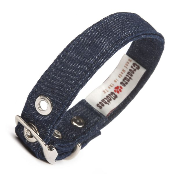 Denim vegan fabric dog collar