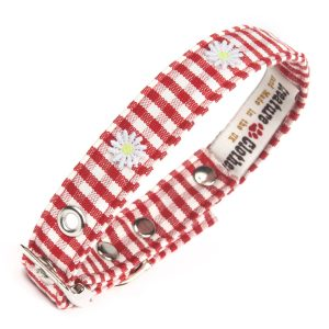 Red Gingham vegan fabric dog collar with daisies