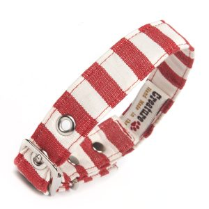 Vegan Fabric Red & White Stripe Dog Collar