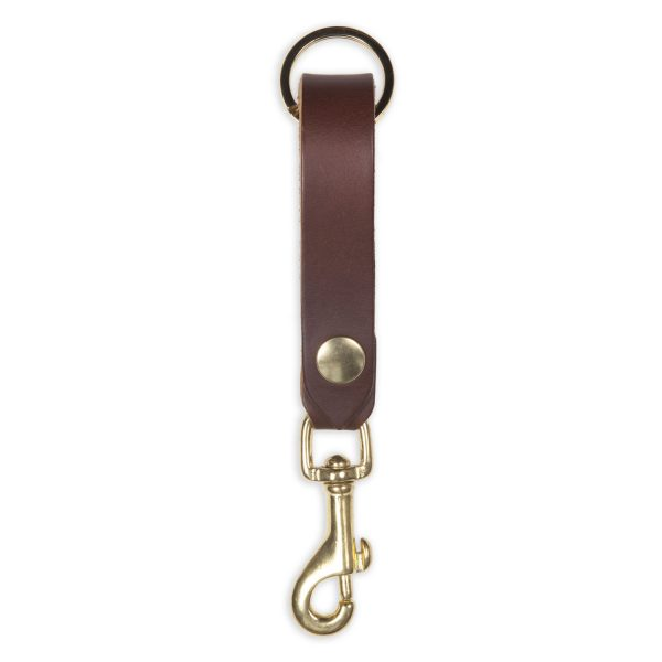 key clip chocolate brown leather