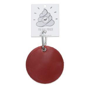 Dog Poo Bag Holder Red Leather Circle
