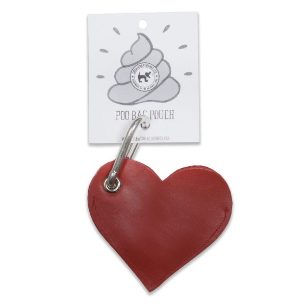 Dog Poo Bad Pouch Red Leather heart