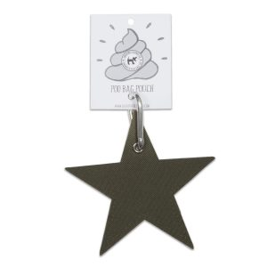 Vegan Dog Poo Pouch Olive Green Star