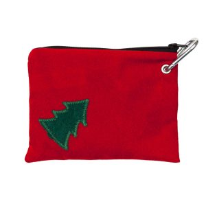 Classic Christmas Tree on Red Dog Treats Pouch