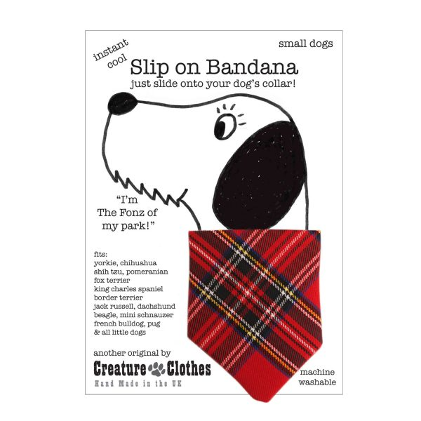Slip on Dog Bandana with Tartan Design