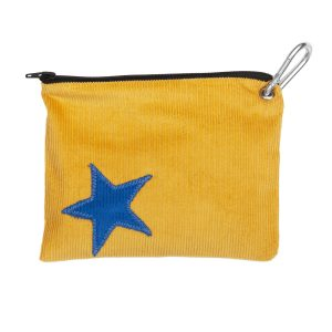 Dog treats pouch blue star on yellow cord