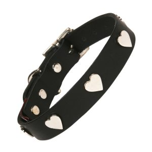 Black Leather Dog Collar with Silver Hearts