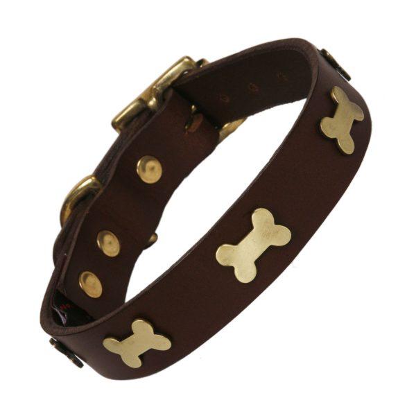 Chocolate leather dog collar with brass bones