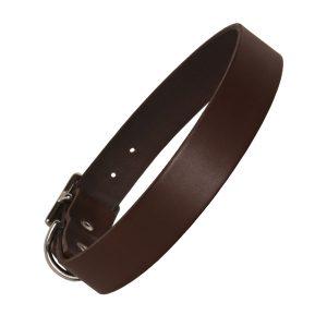Chocolate Leather Dog Collar Plain