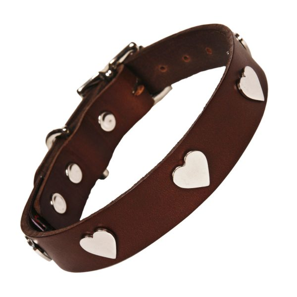 Chocolate Dog collar with Silver Hearts