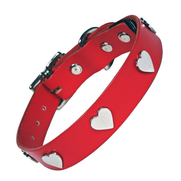 Red Leather Heart Dog collar