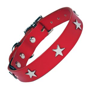 Classic Studded Dog Collar - Silver Stars on Red Leather