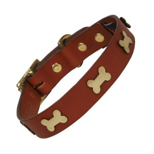 Tan Leather dog collar with brass bones