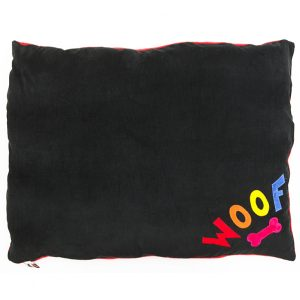 Rainbow Woof on Black Spare Dog Doza Bed Replacement Cover