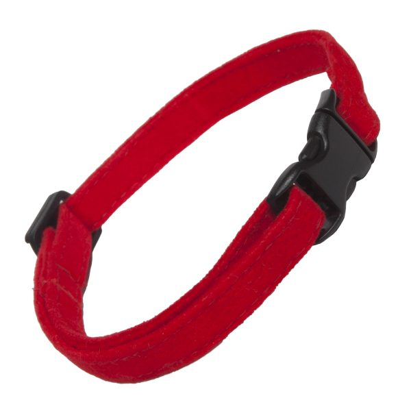 Cat Collar Red Faux Suede