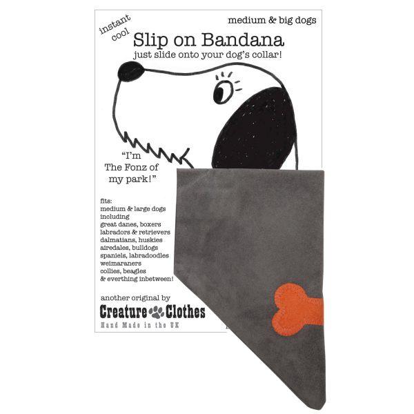 Slip on Dog Bandana orange bone on Grey