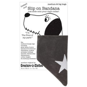 slip on dog bandana withe cream star on grey faux-suede