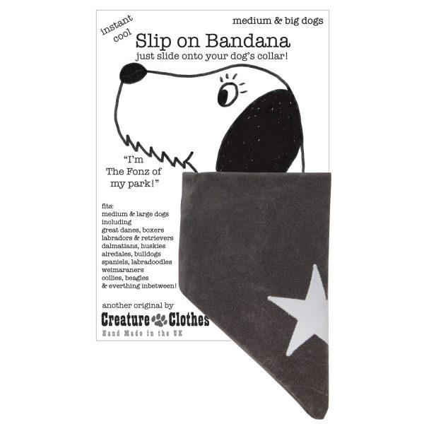 slip on dog bandana withe cream star on grey faux-suede