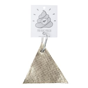 Triangle Dog Poo Pouch in Gold Leather