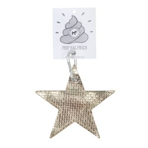 Gold Leather Star Dog Poo Pouch